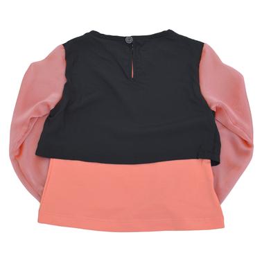 Блузка с камъчета и ръкави от шифон розова