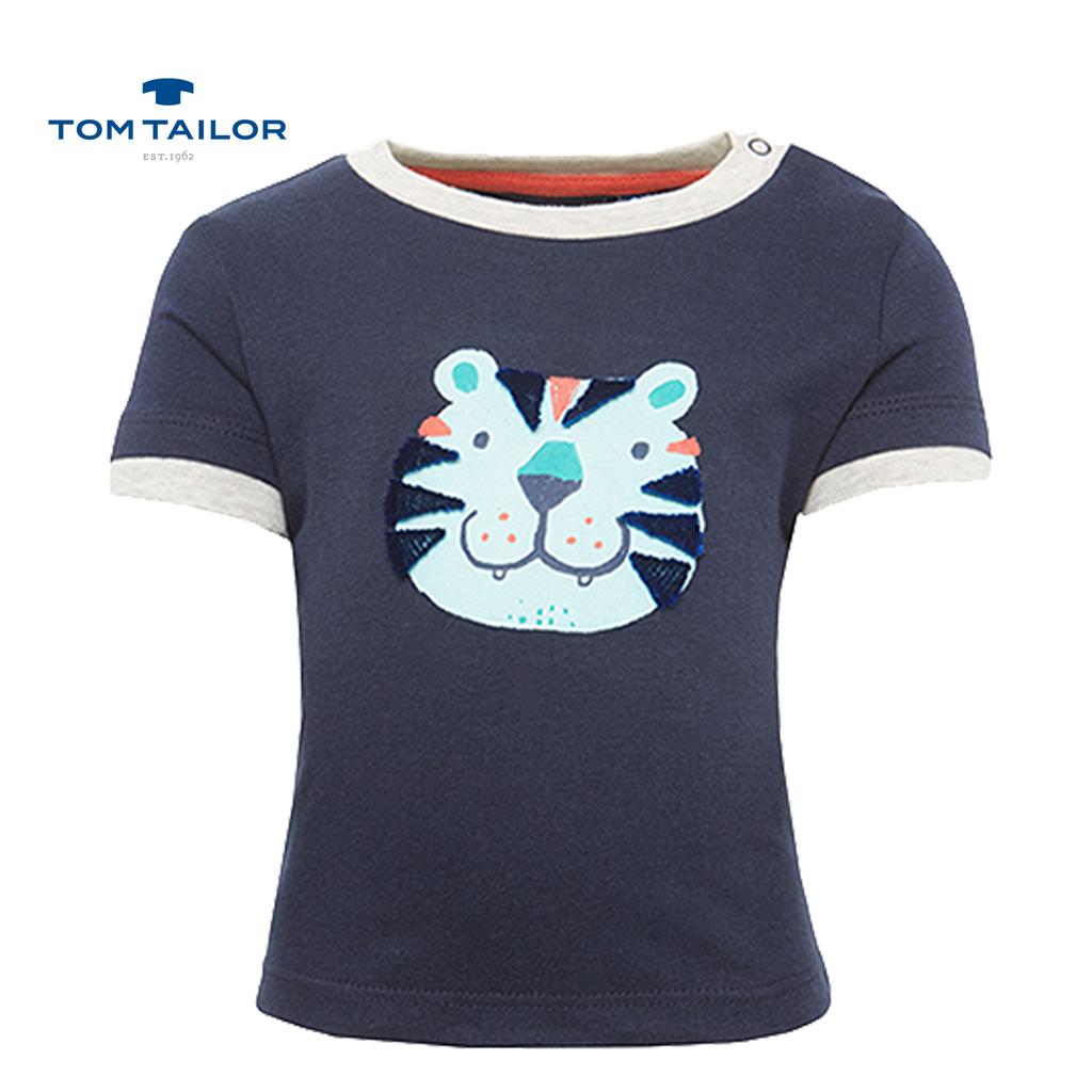 Тениска с тигър и релефна декорация тъмно синя