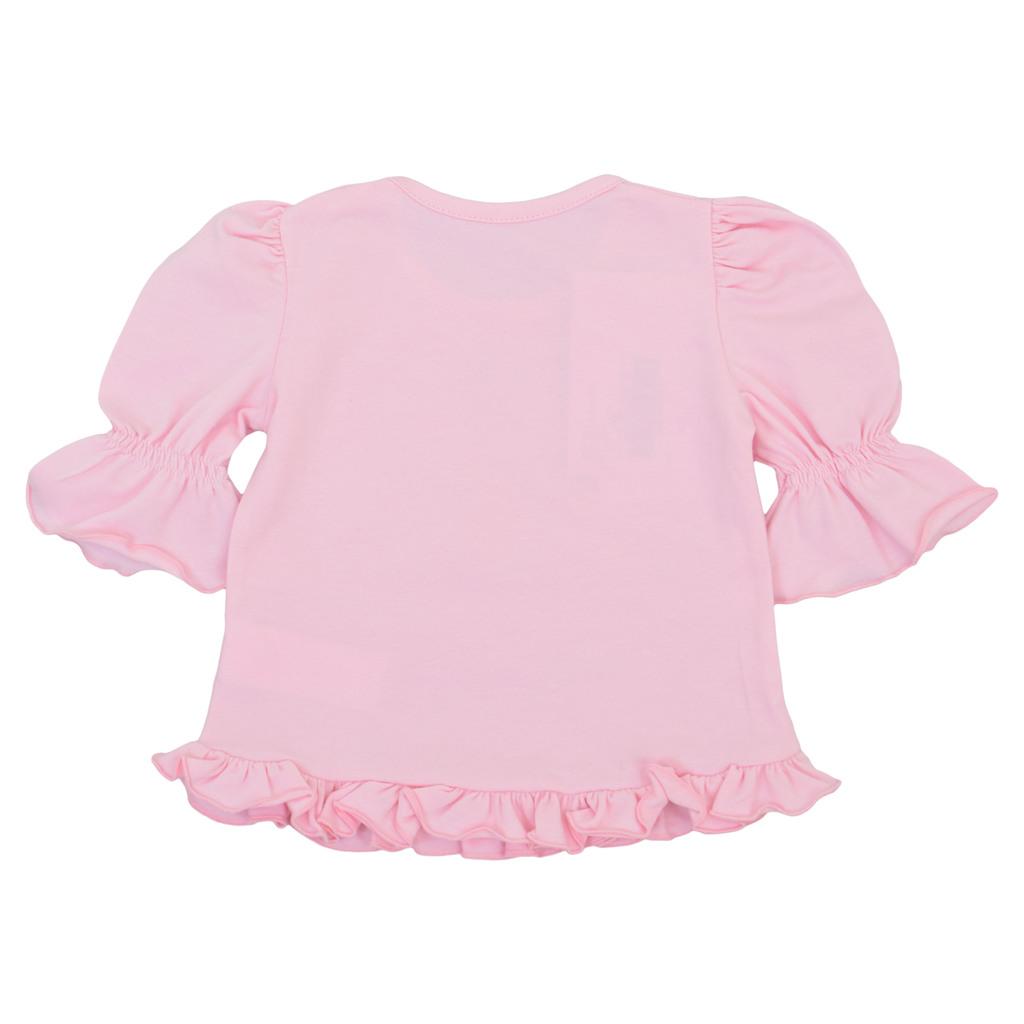 Блуза с 3/4 ръкав, волани и ананас розова