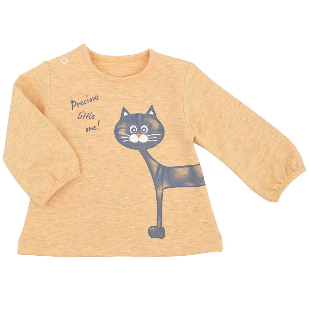 Бебешка блуза с котка праскова