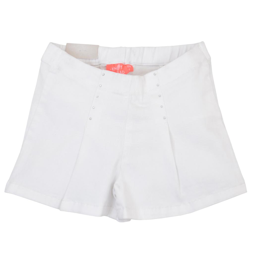 Еластични къси панталонки с камъчета и басти в бяло