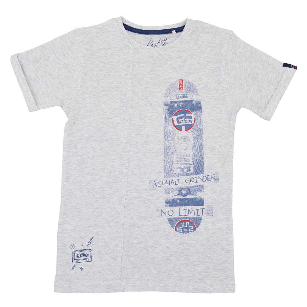 Тениска със скейтборд и декоративен шев светъл меланж