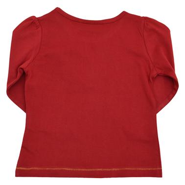 Блузка с надпис и капси бордо