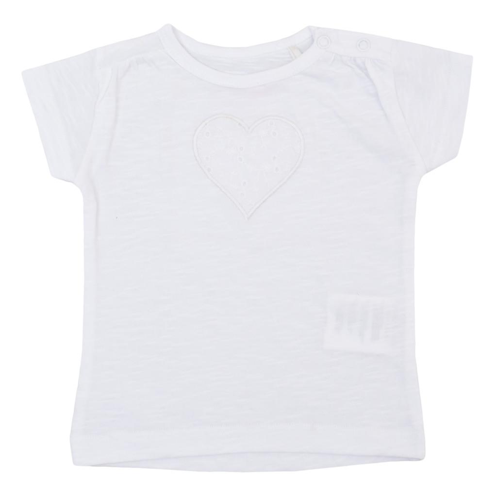 Блуза с къс ръкав и бродирано сърце в бял цвят