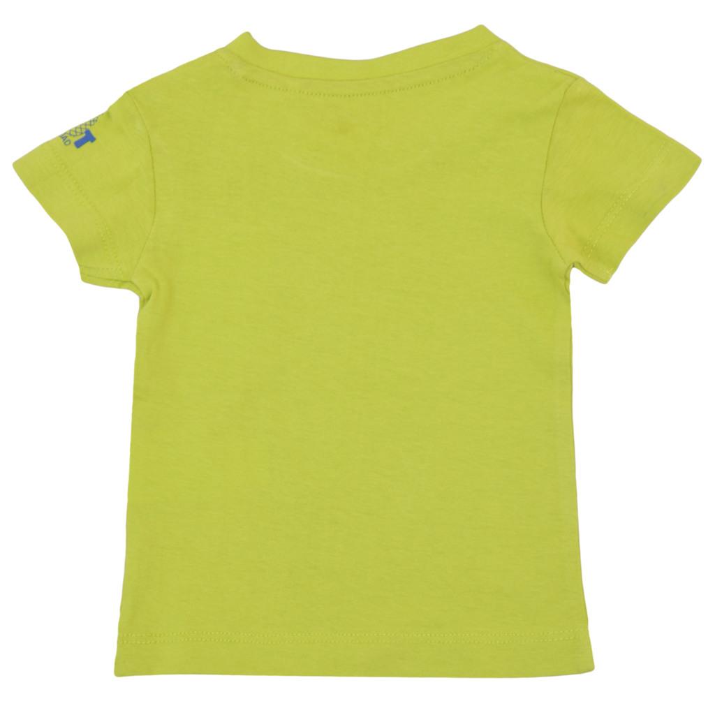 Тениска с копчета на рамото и ананас зелена