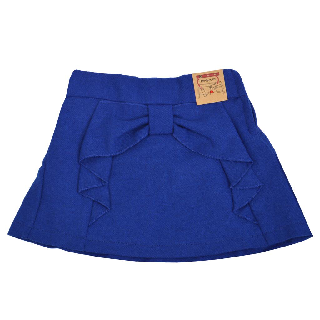 Къса зимна пола с панделка синя
