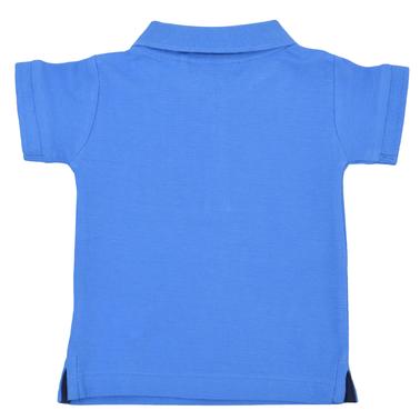 Елегантна бебешка блуза с яка и котва синя