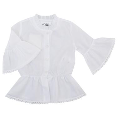 Риза с къдри и 3/4 ръкав с волан бяла