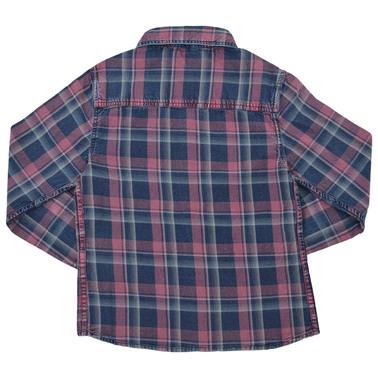 Карирана риза с дълъг ръкав и джоб бордо