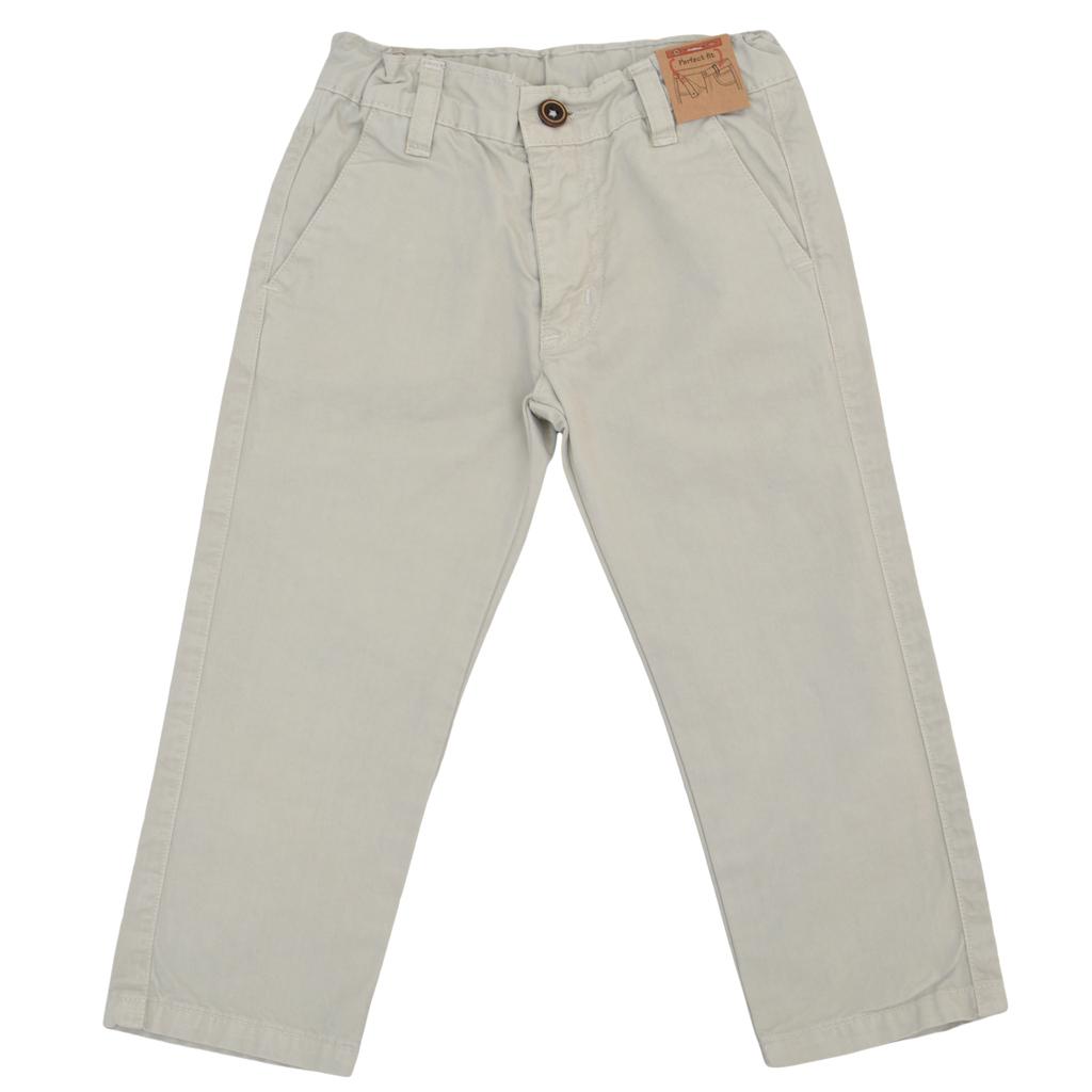 Цветен детски прав панталон бежов