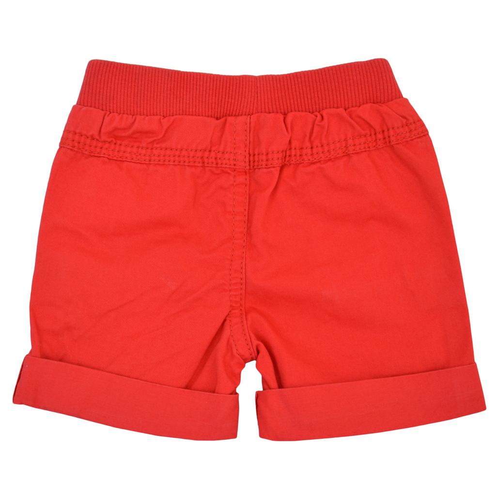 Бебешки къси панталони изчистени с джобове червени