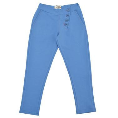 Спортно-елегантен панталон със странично закопчаване на талията светло син