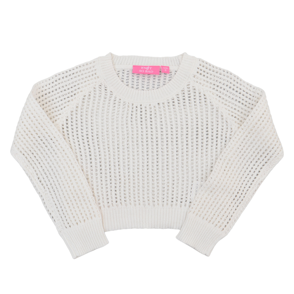 Къса плетена блуза с едра плетка бяла