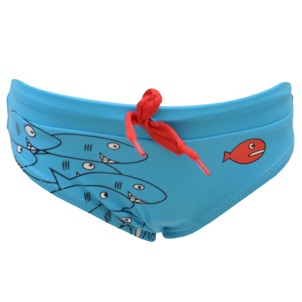 Детски бански слип с рибки и връзка син
