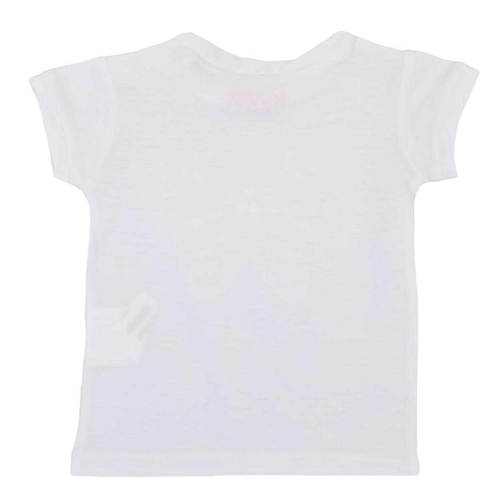 Тениска с релефна пеперуда и усукано бие бяла