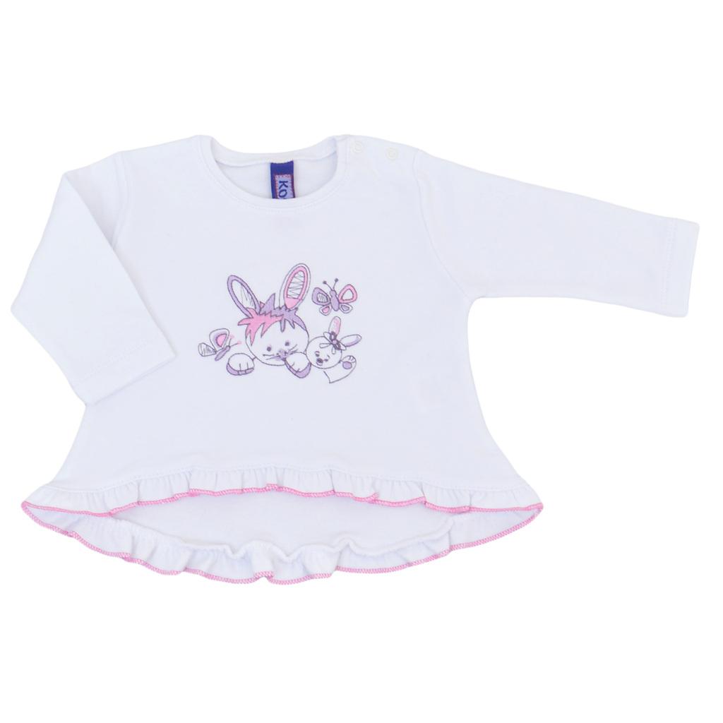 Бебешки комплект от блузка със зайчета и клин бял