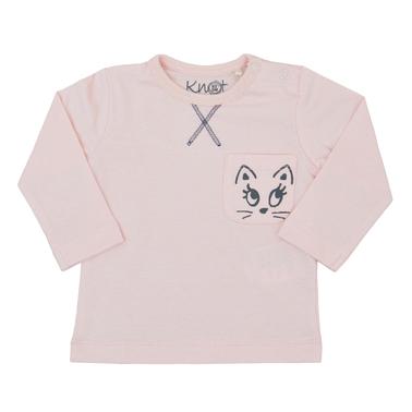 Блузка дълъг ръкав с джобче и щампа на коте бледо розова