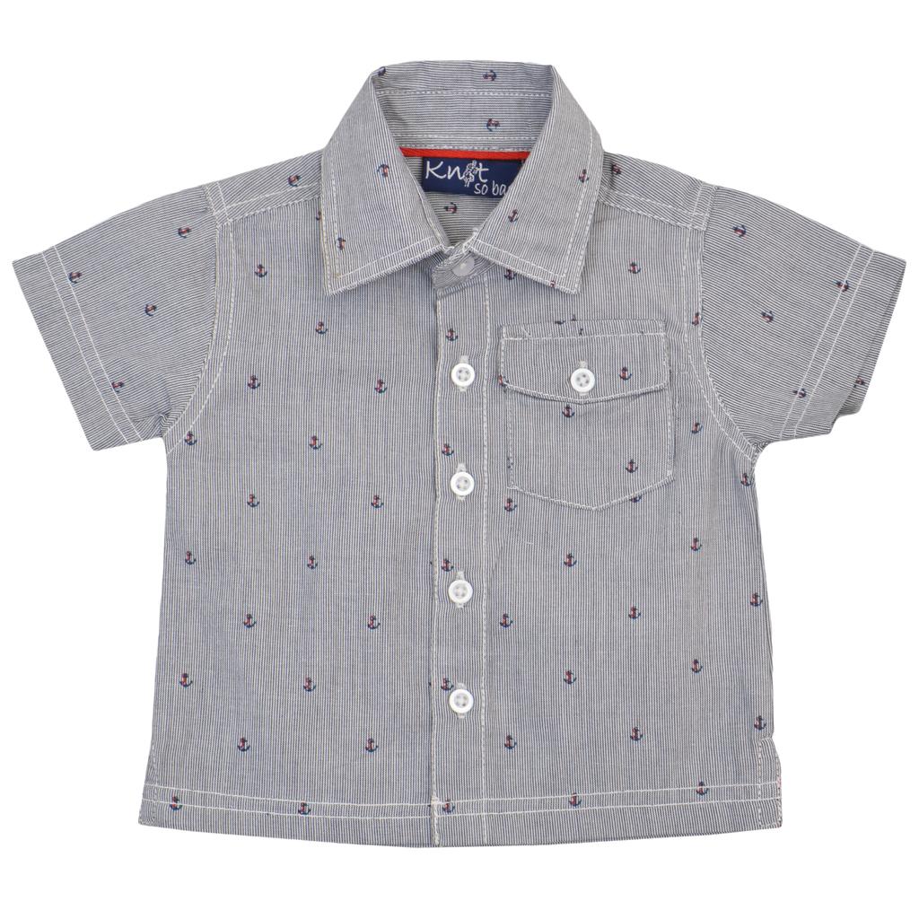Елегантна бебеша лятна риза в райе с котвички тъмно синя