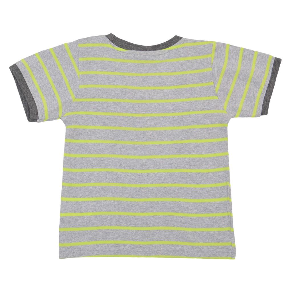 Памучна детска блуза в райе с надпис и емблема зелена