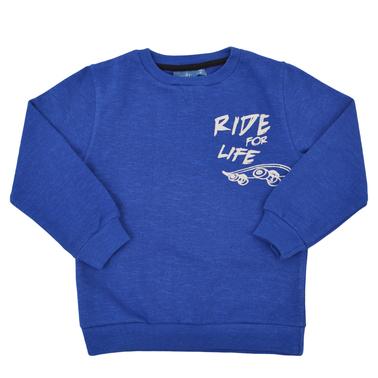 """Ватирана спортна блуза """"Ride for life"""" синя"""