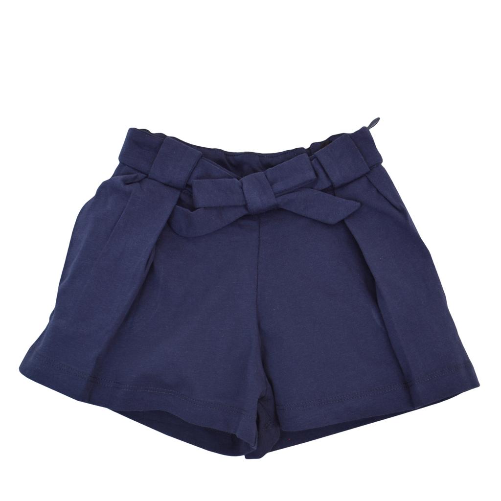 Къси панталонки с широк крачол и плохи тъмно сини