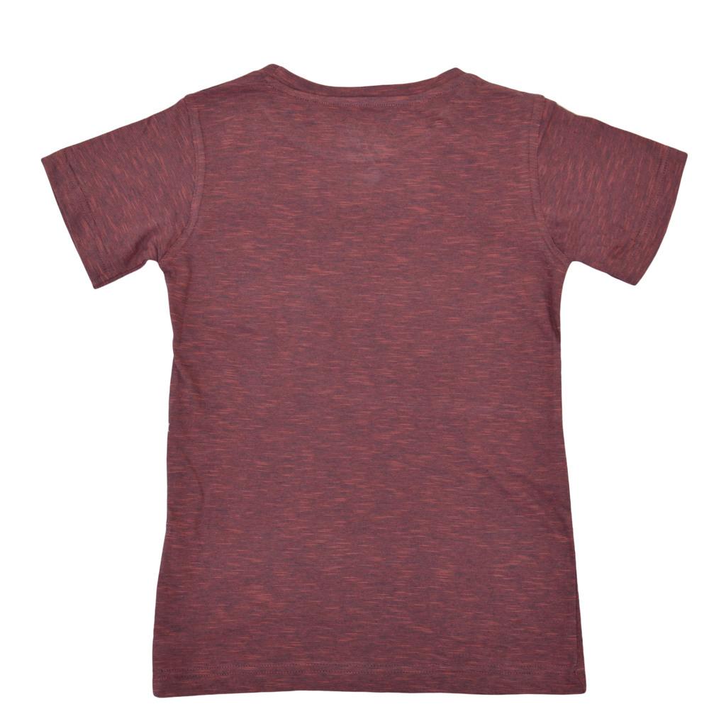 """Тениска в меланж с надпис """"Paintball"""" цвят керемида"""