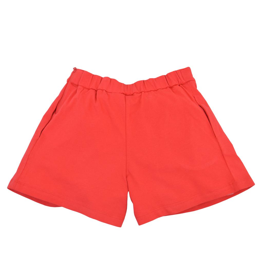Къси панталонки с широк крачол, плохи и коланче червени