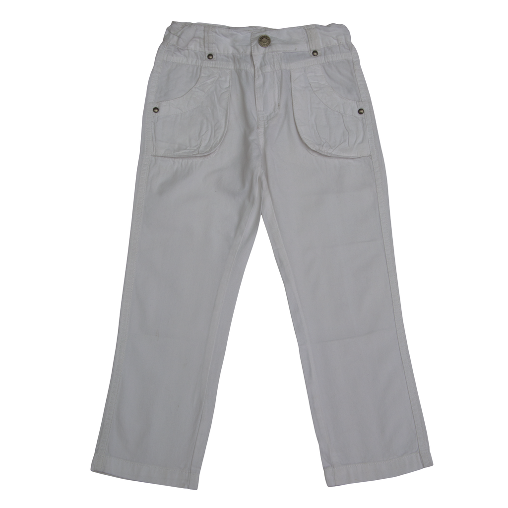 Панталон с цветни шевове на джобовете бял