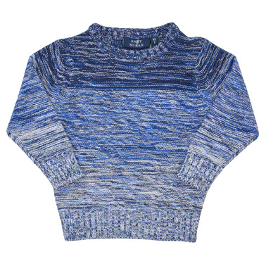 Детски плетен пуловер в преливащи цветове син