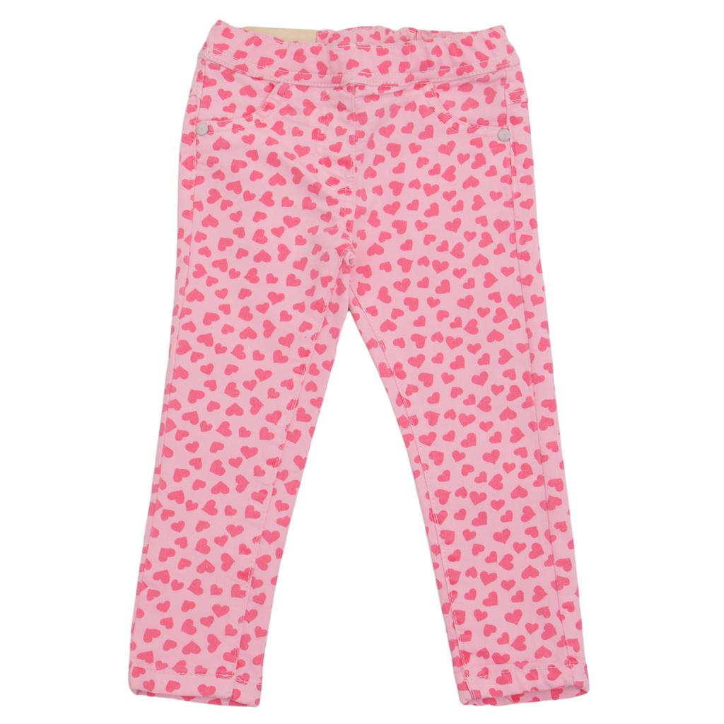 Еластичен панталон с ластик покрит със сърчица розов