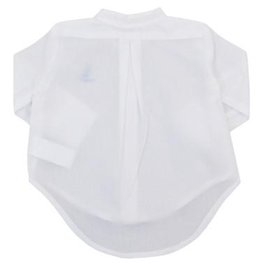 Риза  дълъг ръкав със столче яка и платноходка бяла