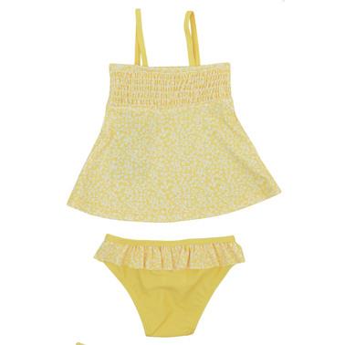 Шикозен бански с туника и долнище на цветя жълт
