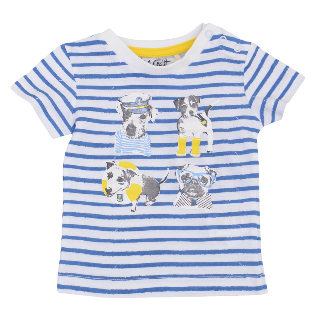 Комплект от 2 броя бебешки блузи с кучета жълт