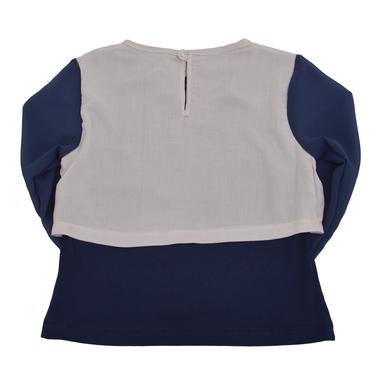 Блузка с камъчета и ръкави от шифон тъмно синя
