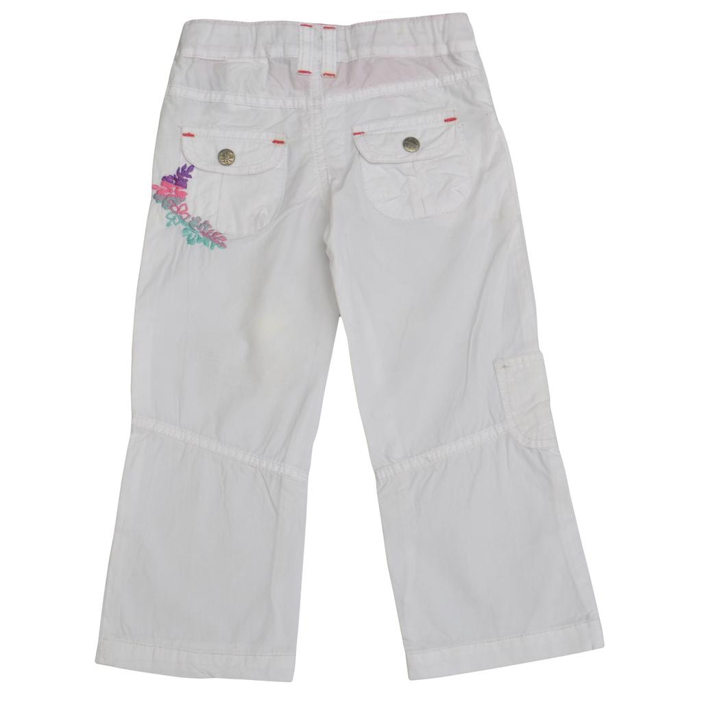 Летен панталон с бродерия бял