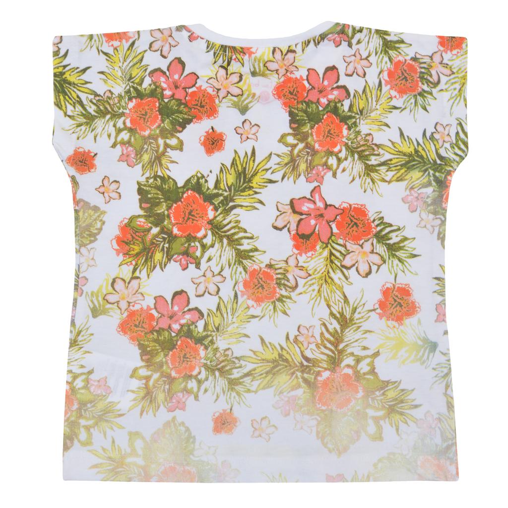Детска лятна блузка с тропически цветя коралова