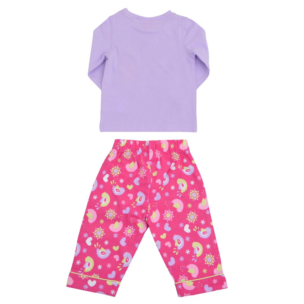 Бебешка зимна пижама с бархетно долнище лилава