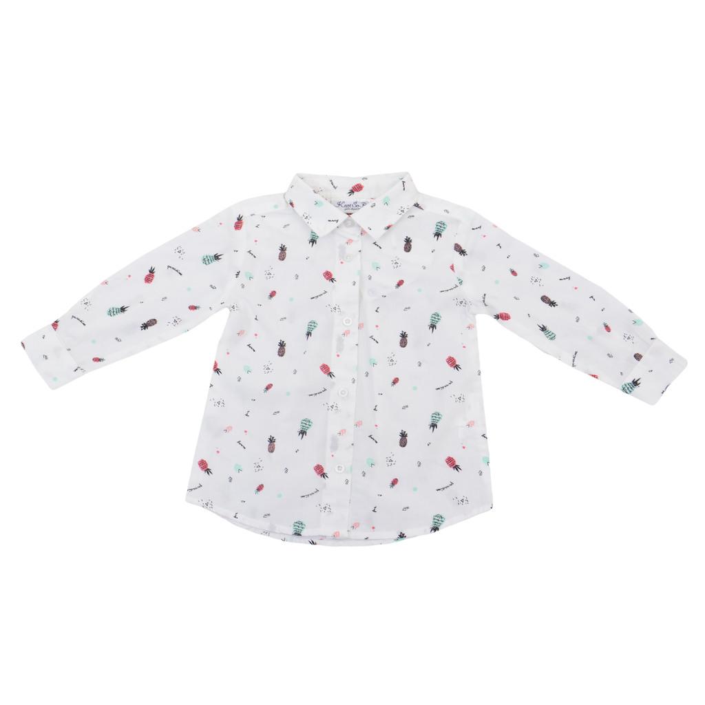 Риза дълъг ръкав с дамско закопчаване на ананаси бяла