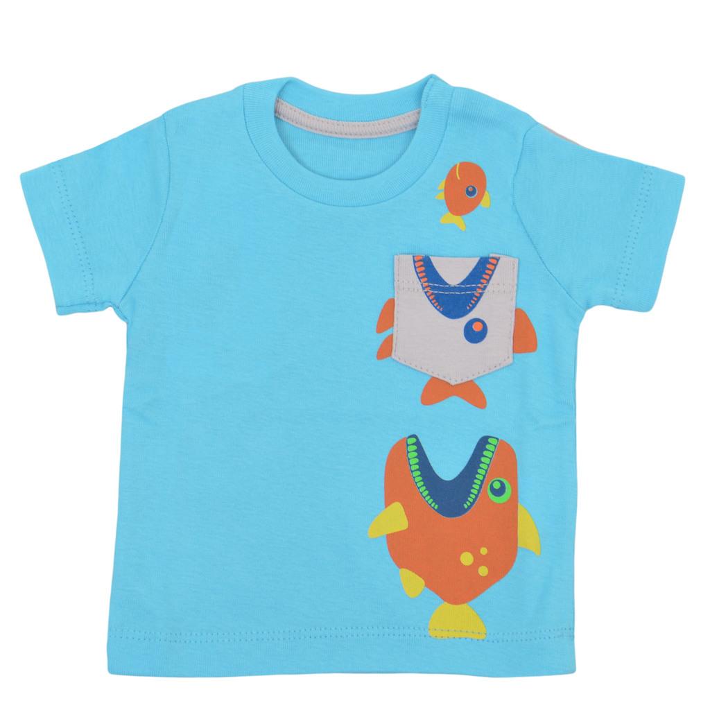 Тениска с лакоми рибки и джобче електрик