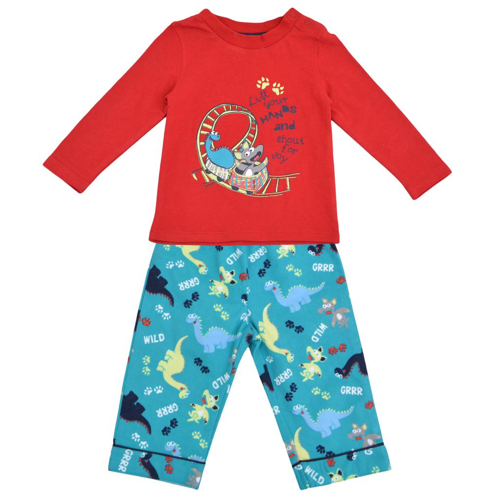 Бебешка пижама на динозаври с бархетно долнище червена