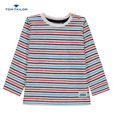 Блузка дълъг ръкав с релефни райета Tom Tailor бяла