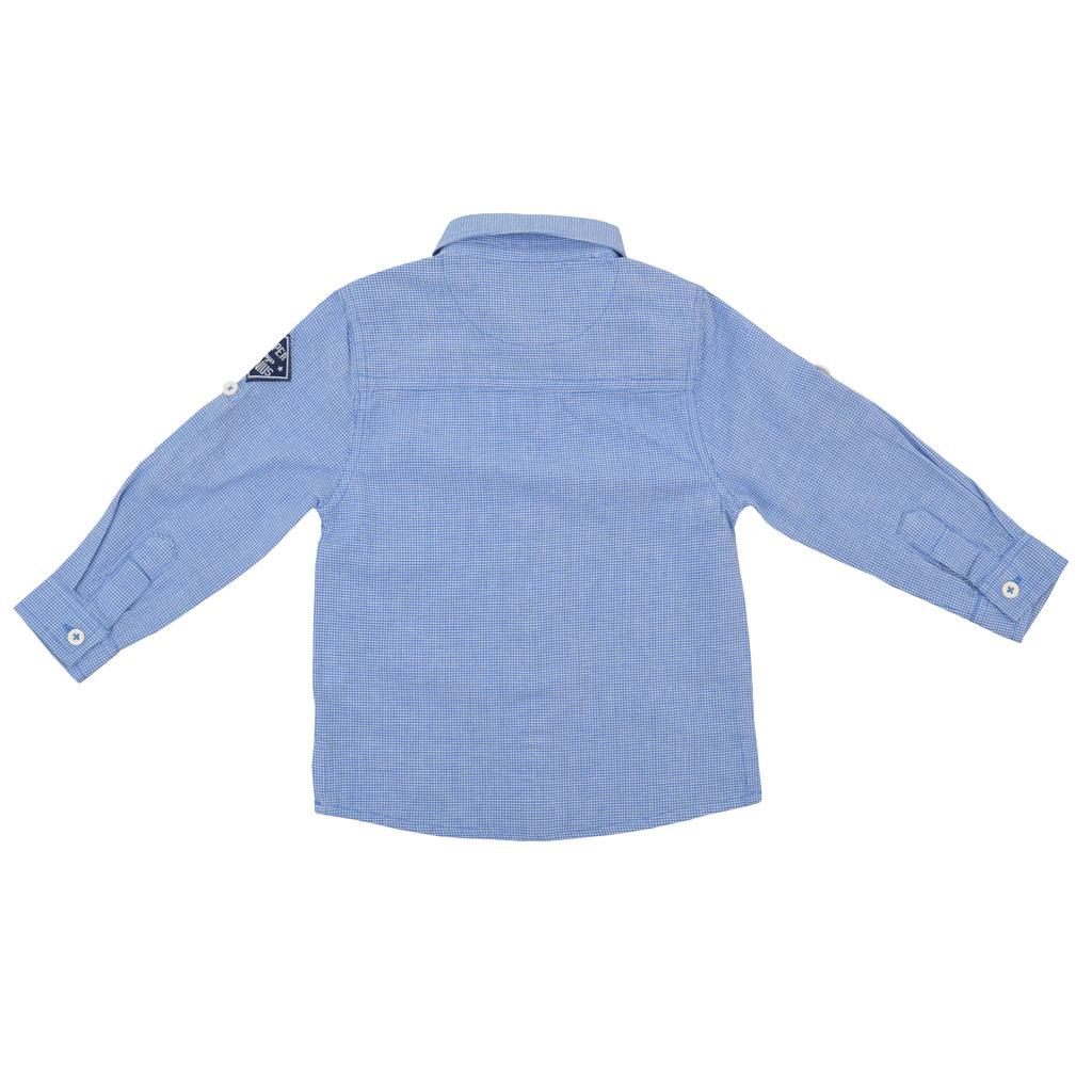 Риза с ръкав 2 в 1 каре  синя