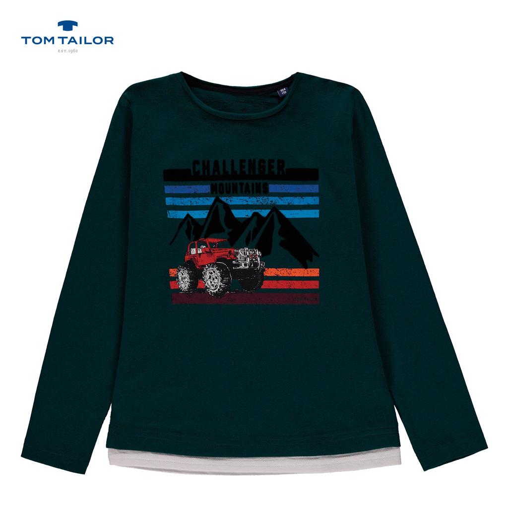 Блуза Tom Tailor с планински пейзаж и джип зелена