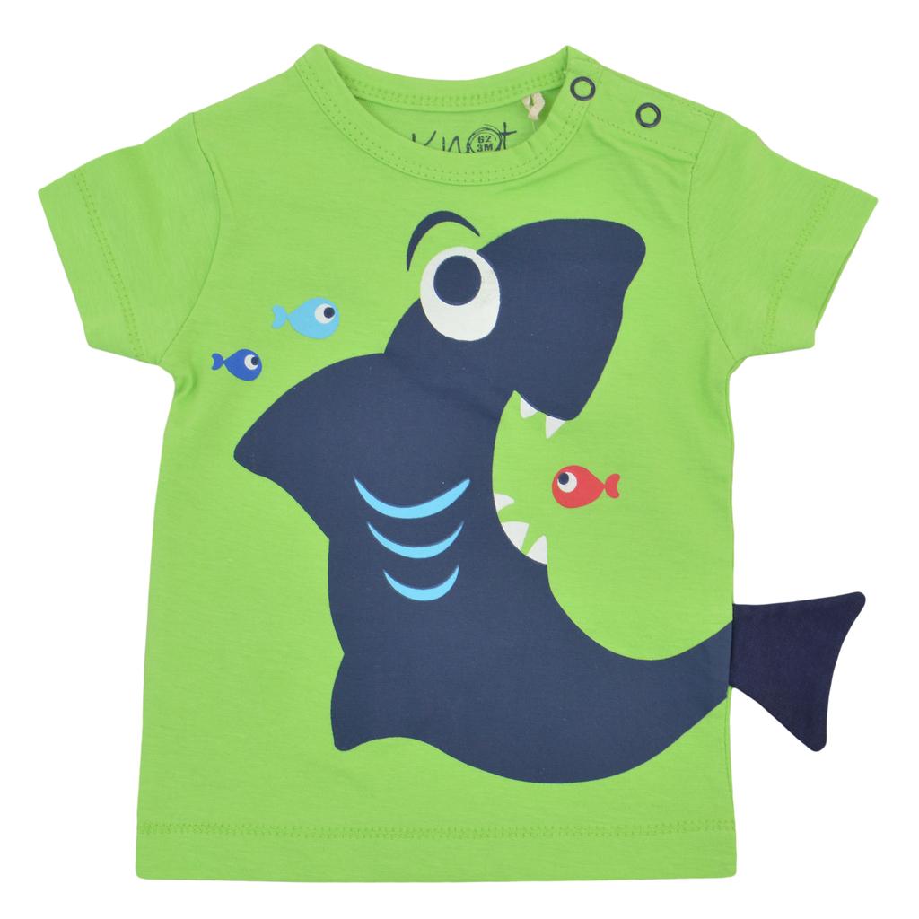 Тениска с лакома акула и рибки зелена