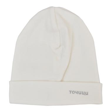 Трикотажна памучна шапка с лого ''Точици'' екрю