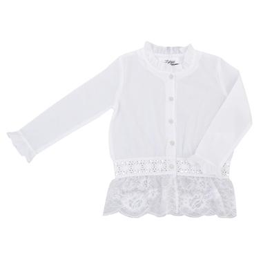 Официална детска риза с дантели и къдрици бяла