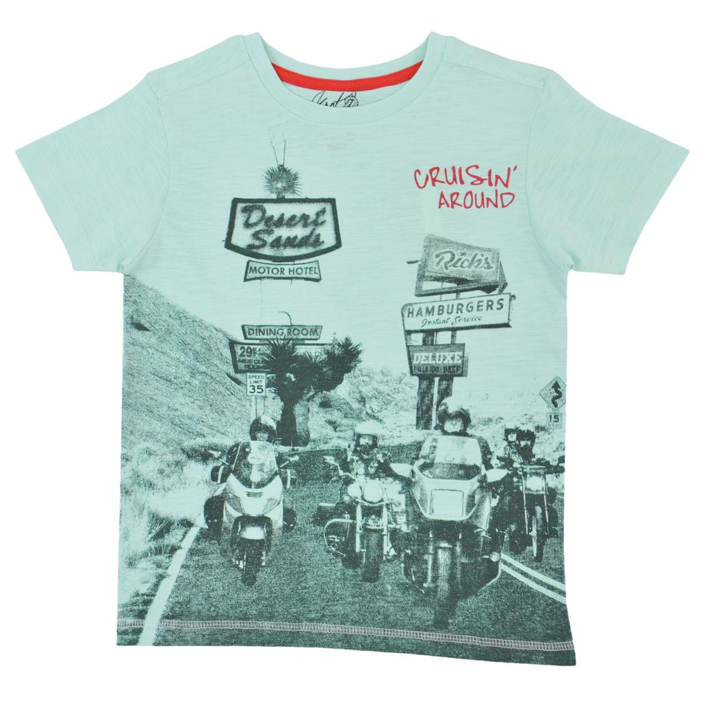 Тениска с щампа на мотористи резеда