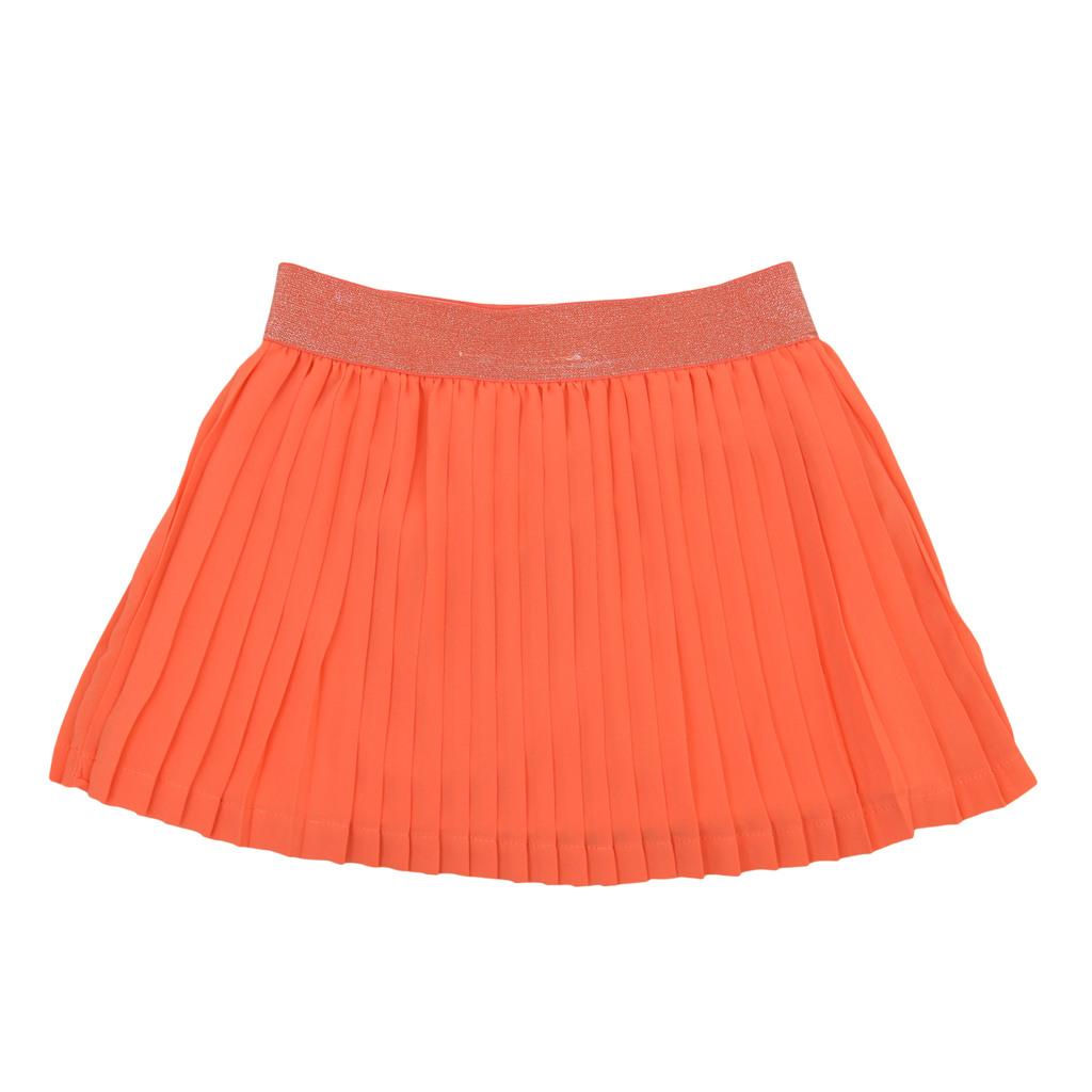 Плисирана пола с ластик с ламени нишки оранжева