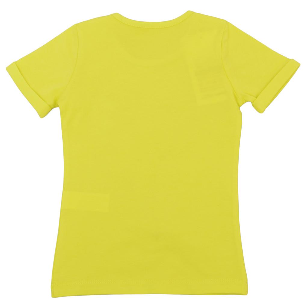 Блуза къс ръкав с балони и пайети жълта