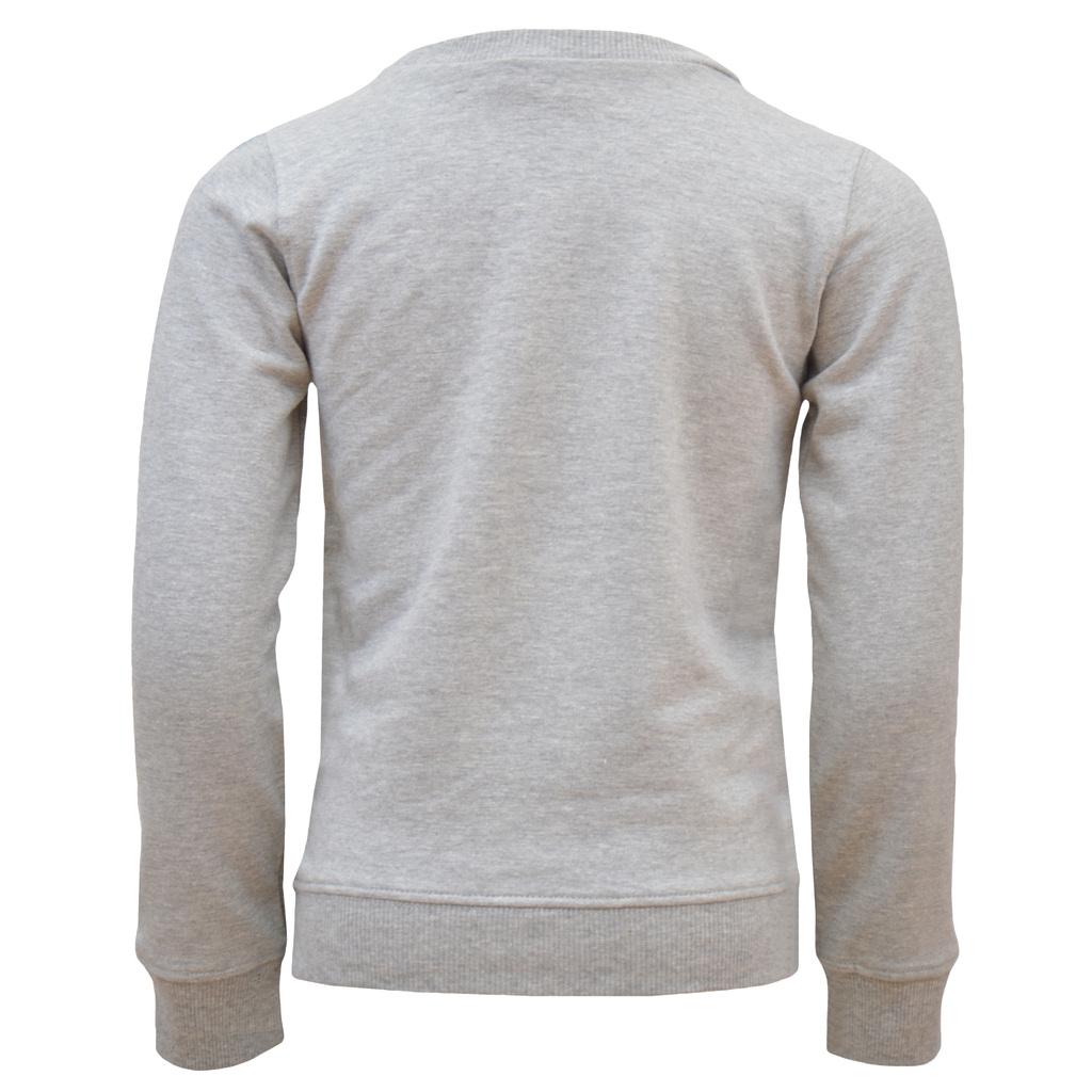 Спортна ватирана блуза с джоб кенгуру и надпис сив меланж